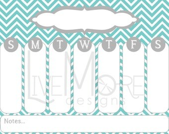 """Turquoise/Grey 8.5""""x11"""" Printable Weekly Calendar - INSTANT DOWNLOAD"""