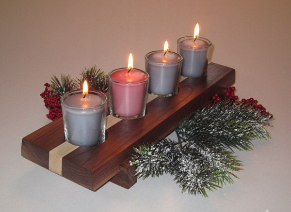 advent candle holder solid walnut and maple 4 candles. Black Bedroom Furniture Sets. Home Design Ideas