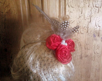 Red Bridal Headband, Ribbon Rose Hairpiece with Feathers and Black Russian Netting, Wedding Fascinator, Special Occasion Hairband