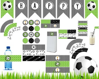 Soccer Party Printable, Soccer Decoration,Water bottle, Label, Wrapper, Soccer Printable