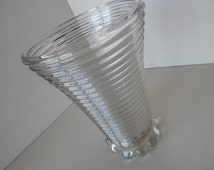 Art Deco Clear Manhattan Depression Glass Flower Vase - Mid Century Vintage Anchor Hocking - Perfect Condition!