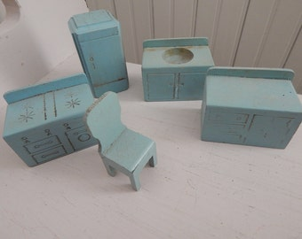 Strombecker Style Blue Wood Doll House Kitchen Cupboards, Stove, Sink, Fridge - 1940s Doll House Furniture - 5 Piece Set - Little Girl Gift