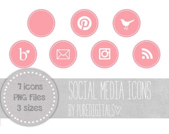 Light Pink Social Media Icons, Pink Blog Buttons, Cute Social Media Buttons, Pink Blog Icons, Website Icons