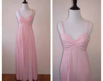 Vintage 1970s Pleated Pink Maxi Dress