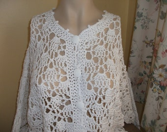100% Cotton white long cardigan hand crochet