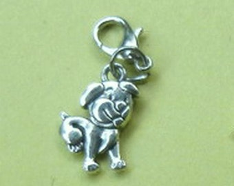 Double Sided Puppy Dangle Silver Puppy for Bracelets, Floating Charm Pendants, Necklaces & Keychains  D032