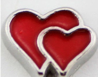 Floating Charm ~ 1 piece Double Red Hearts  FC012