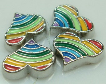 Floating Charm ~ 1 piece Rainbow and Pride Heart  FC040