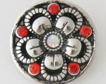 Clearance ~ KB7607  Silver Flower Set Off With 5 Red Crystals and Rainbow Crystal in the Center
