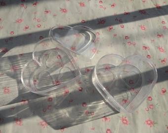set of 50 clear plastic box , heart shape plastic box , plastic jewelry box , 75x70x33mm--OC3085-50