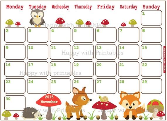 SALE 50% OFF Calendar November 2015 Printable - Woodland Planner ...