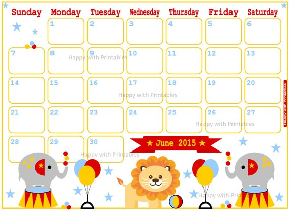 Calendar June 2015 Printable - Cute Planner - Sheet goes SUNDAY TO ...