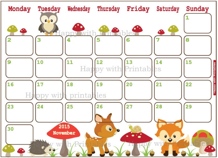 SALE 50% OFF Calendar November 2015 by HappywithPrintables on Etsy