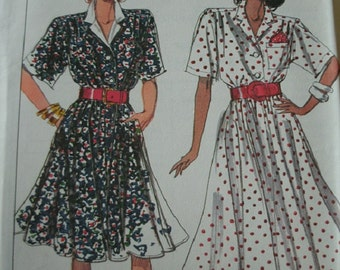 Misses Miss Petite Dress in 2 Lengths Size 10-12-14 Simplicity Pattern 9039 Rated Easy to Sew  UNCUT Pattern 1989