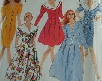 Size 10-16 Misses Miss Petite Dress with Full skirt in 2 Lengths and Slim Skirt SImplicity Pattern 7776  UNCUT Pattern dated 1992