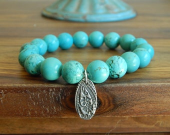 Blue magnesite,sterling silver artisan charm, southwest style, bohemian style,stacking bracelet, country chic