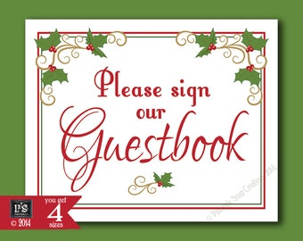Please sign our Guestbook Printable Christmas Wedding sign - download digital file - DIY - White Berry Christmas Collection