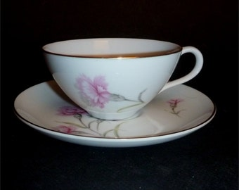 Cup and Saucer  in Royal Court China's  Carnation pattern