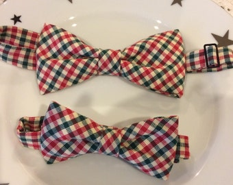 Red And Green Plaid Gingham matching Father and Son Bow Tie Set, Custom Bow Tie Order