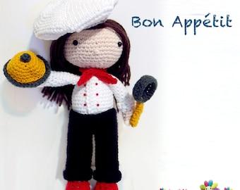 Girlcook_Mary Bon Appetit, crochet Pattern ,Amigurumi ,cute ,crochet,DIY,winter,cook,girl cook