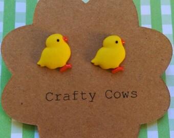 Easter chick earrings - Easter jewellery spring chicken stud earrings uk