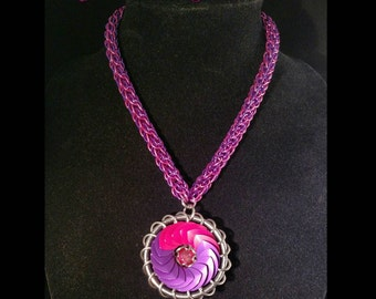 Hot pink and purple turbine necklace with matching chain.
