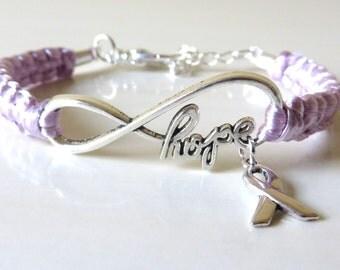 Lavender General Cancer HOPE Awareness Bracelet with Optional Hand Stamped Letter Charm