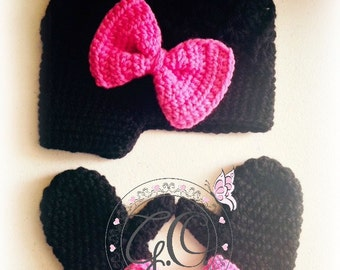Crochet girl hat and mitten set/Crochet newsboy hat and mitten set for girl/crochet bow hat and mittens