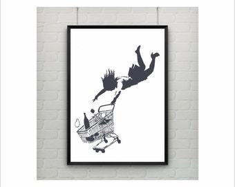 Shop Till You Drop by Banksy Print / Falling Woman / Graffiti Art / US Letter-A4 up to A0 size / Street Art / Wall Art / Provocative Humor