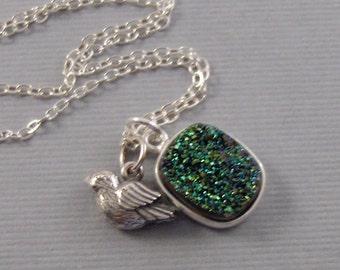 Ivy Sparrow,Necklace,Druzy,Drusy,Druzie,Necklace,Druzy Necklace,Agate,Geode,Green Druzy,Green STone,Emerald Necklace,Green,MaidenJewelry