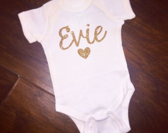 Glitter Name Onesie with Heart