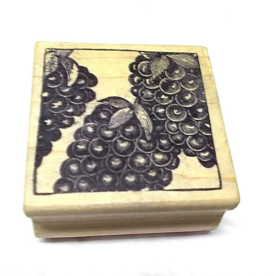 Magenta Grapes rubber stamp wood mounted card making
