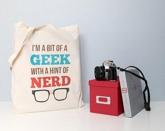 Tote, cotton tote, handbag, cotton shopper, shopping bag, retro bag, book bag, nerd tote bag, geek tote bag, black glasses tote, school bag