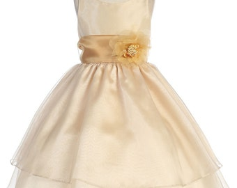 Organza Flower Girl Dress with Sash and Flower