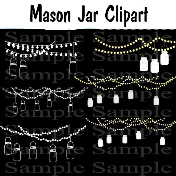 93 Images Mason Jars Digital Clipart INSTANT DOWNLOAD