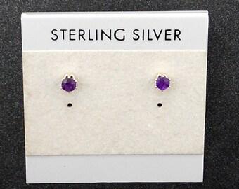Amethyst Sterling Silver Stud Post Earrings