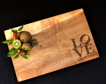 Personalized Cutting Board Spalted Maple Love Sculpture Design Custom Cutting Board Wedding Cutting Board Gift Anniversary Cutting Board