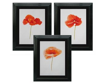 Poppies, Set of 3 Watercolour Instant Download, Scrapbooking, Red Poppy Wall Art, Cottage Garden Art, Digital Flower Home Decor