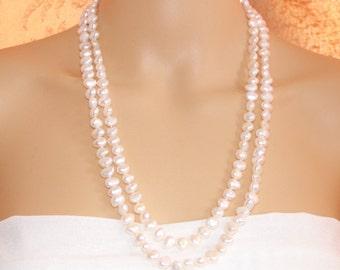 Baroque pearl necklace,multistrand pearl necklace,layered necklace,50inch long pearl necklace,bridesmaid necklace gift,bridal pearl necklace