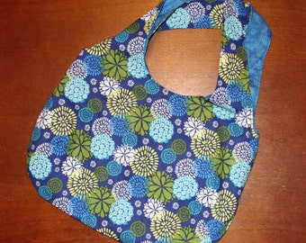 Tote Bag - Flower Print with Blue Spirals Lining