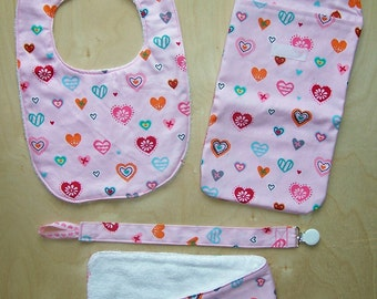 Pink with Hearts Baby Gift Set