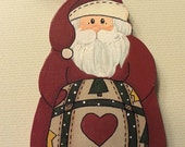 Tole Painted Wood Quilt Santa Ornament