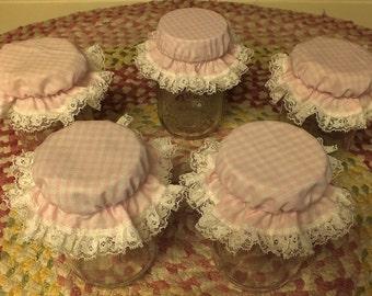 Reusable Elastic Mason Canning Jar Bonnets/Jar Topper /Jar Lid Cover Pink Gingham  ... Package of 5