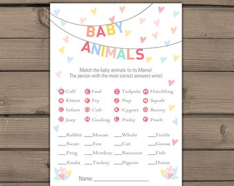 Baby shower game Baby Sprinkle game Match baby animals game Instant download Gender neutral Neutral baby shower PRINTABLE Shower game