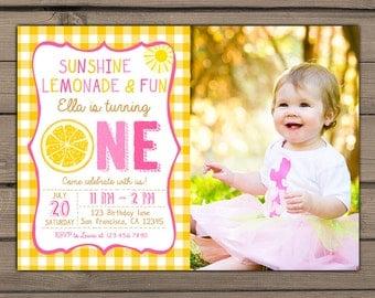 Pink lemonade Birthday Party Invite Sunshine Lemonade First Birthday Invitation Pink Yellow Girl Birthday invitation Digital PRINTABLE DIY