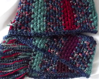 Handmade Crochet Scarf Blue Seafoam Green Red Jewel Tones Soft Lofty Neck Warmer