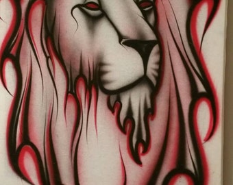 Red black lion art