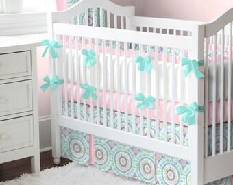 Girl Baby Crib Bedding: Aqua Haute Baby - Fabric Swatches Only
