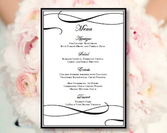 Wedding Menu Card Its Love Black White Printable Template Editable Word Doc