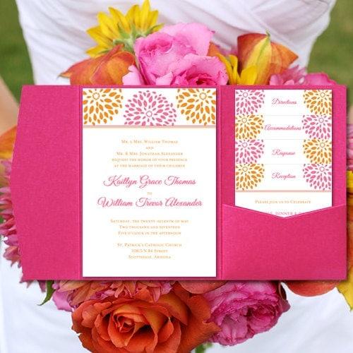 Pink Orange Wedding Invitations Floral By WeddingTemplates